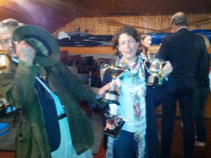 A couple of shifty looking chancers make off with Pippa Taylor's trophies